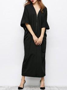 Zippered V Neck Loose Maxi Dress - Black S