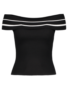 Foldover Off The Shoulder Sweater - Black Stripe