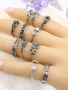 Flower Leaf Rhinestoned Jewelry Ring Set - Silver