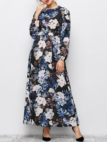 Printed Maxi Boho Dress - Black M