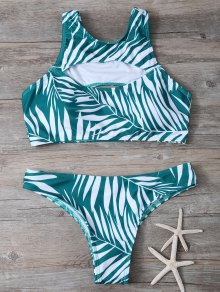Tropical Print Cut Out Bikini Set