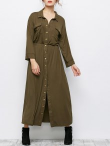 Maxi Single Breasted Military Shirt Dress - Army Green S