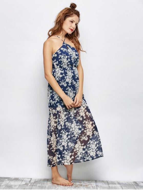 Floral Beach Maxi Dress - BLUE 2XL Mobile