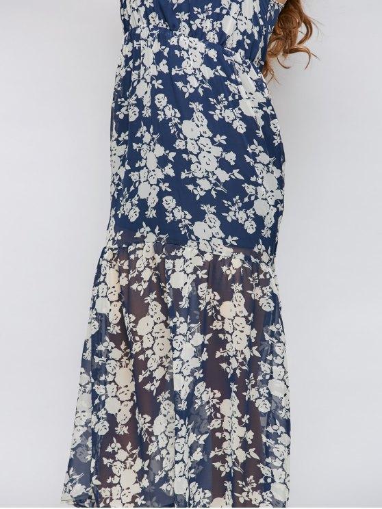 Floral Beach Maxi Dress - BLUE L Mobile