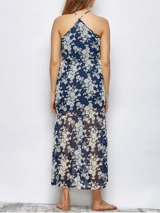 Floral Beach Maxi Dress - BLUE M Mobile