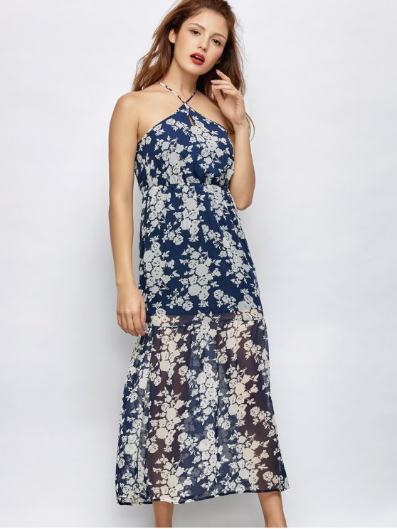 Floral Beach Maxi Dress - BLUE S Mobile