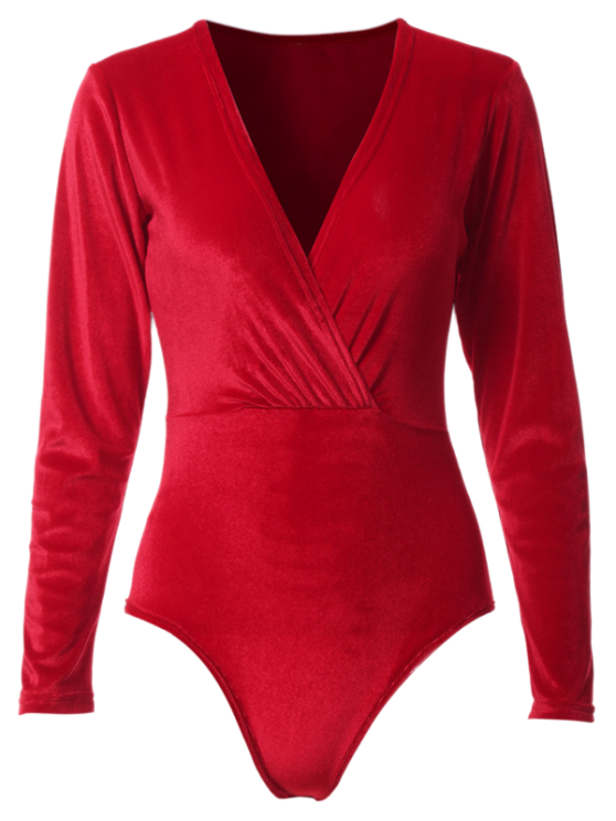 Terciopelo de manga larga Body - Rojo M