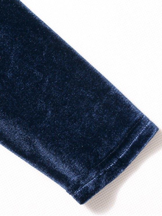 Long Sleeve Velvet Bodysuit - CADETBLUE L Mobile