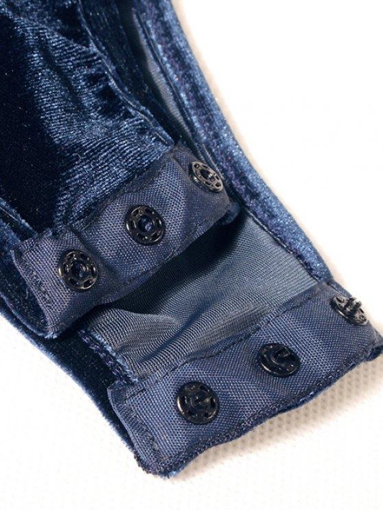 Long Sleeve Velvet Bodysuit - CADETBLUE M Mobile