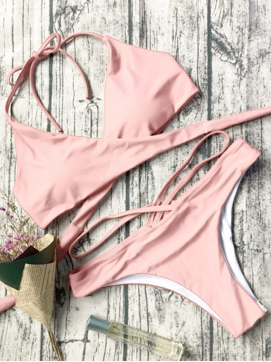 Double Side Crossover Bikini Set - PINK L Mobile