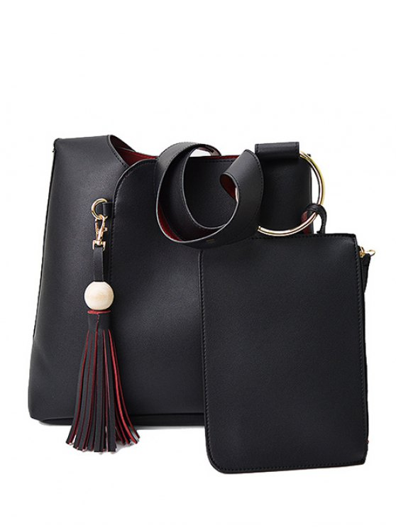 Wood Ball Tassel Shoulder Bag With Wristlet - BLACK  Mobile