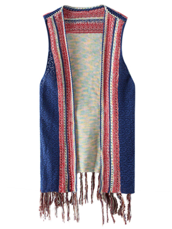 Knitted Tasselled Vest - BLUE ONE SIZE Mobile