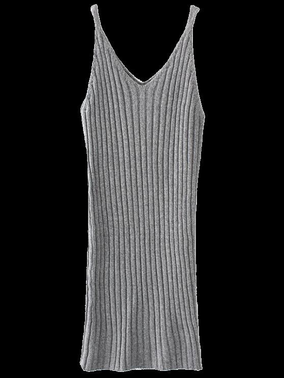 fashion Knitted Tank Dress - LIGHT GRAY ONE SIZE