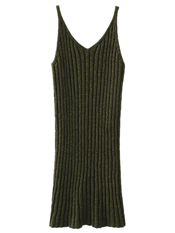 Knitted Tank Dress - ARMY GREEN ONE SIZE Mobile