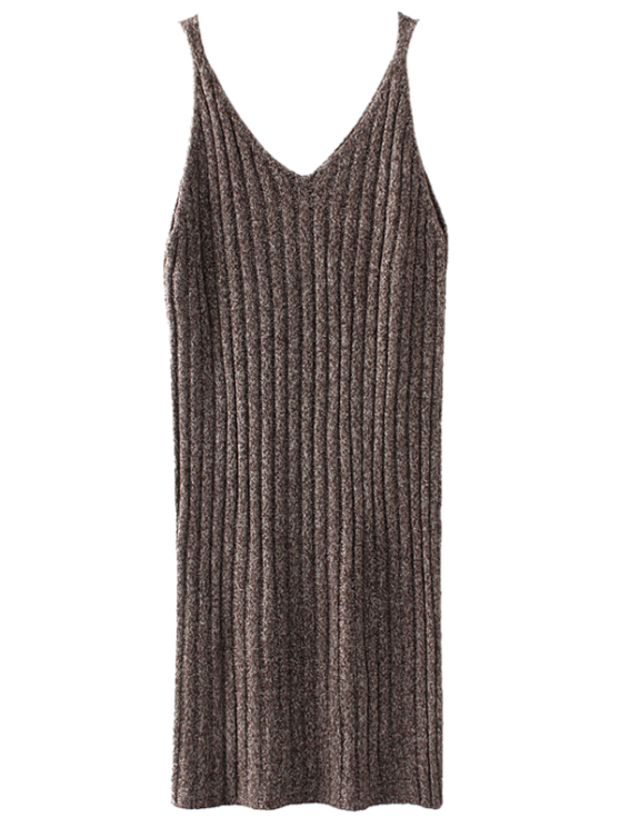 unique Knitted Tank Dress - COFFEE ONE SIZE