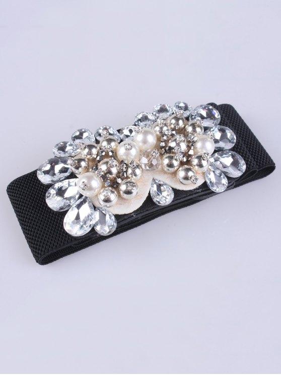 Rhinestones Faux Pearl Elastic Waist Belt -   Mobile