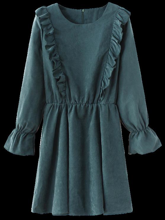Cuello redondo de manga larga vestido con volantes - Azul Verde S