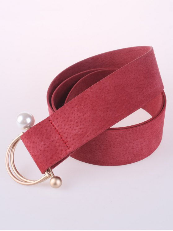 D Buckle Faux Suede Waist Belt - WATERMELON RED  Mobile