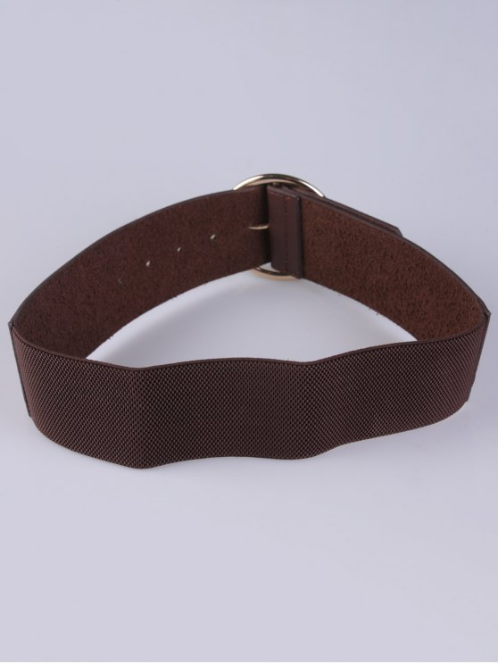 Round Pin Buckle Elastic Wide Belt - COFFEE  Mobile