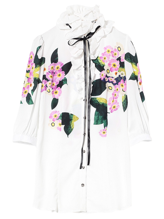 trendy Long Flounced Floral Shirt - WHITE S