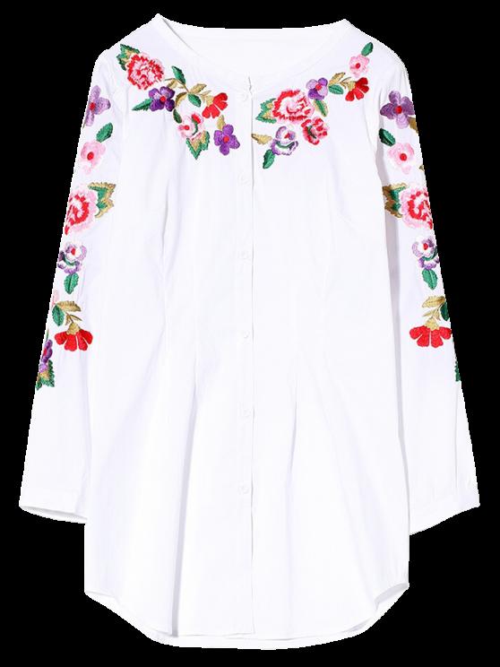 Camisa bordada de manga larga - Blanco S