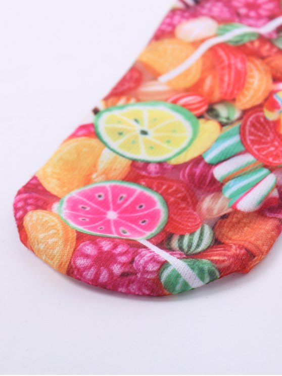 One Side 3D Fruit Candy Printed Crazy Ankle Socks - COLORFUL  Mobile