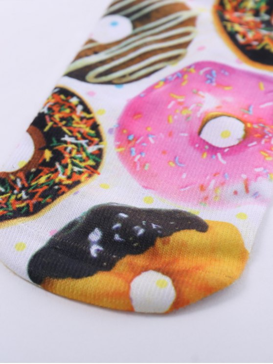 One Side 3D Donuts Printed Crazy Ankle Socks - WHITE  Mobile