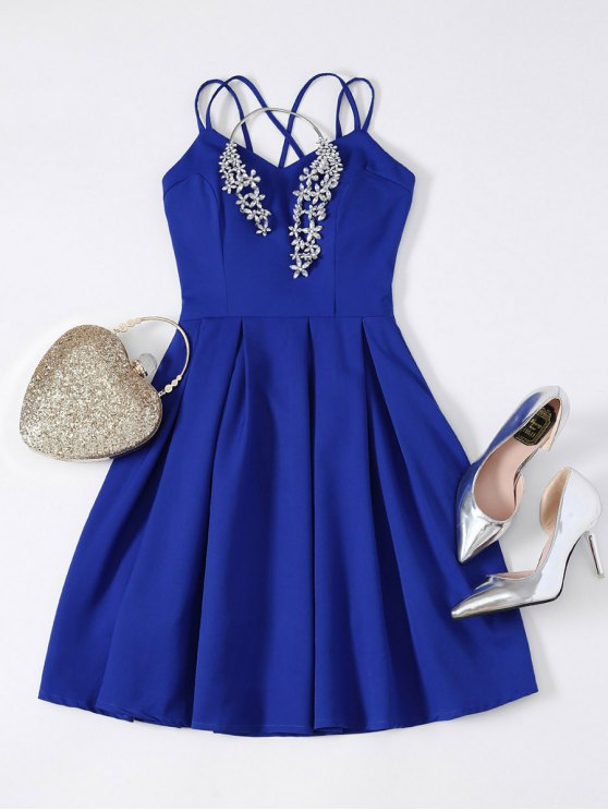 women Flared Mini Cocktail Dress - SAPPHIRE BLUE S