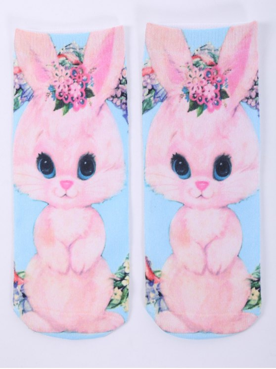 One Side 3D Cartoon Rabbit Printed Crazy Ankle Socks - PINK  Mobile