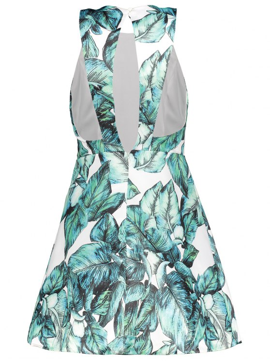 Back Stitch Printed A-Line Dress - GREEN M Mobile