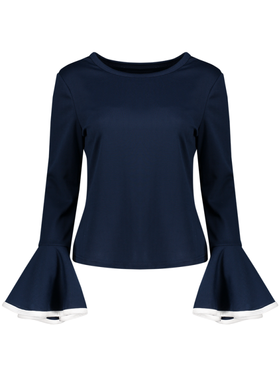 Flare Sleeve Blouse - CADETBLUE L Mobile