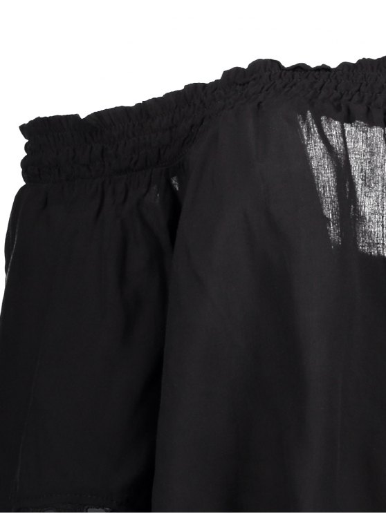 Off The Shoulder Lace Bell Sleeve Blouse - BLACK L Mobile