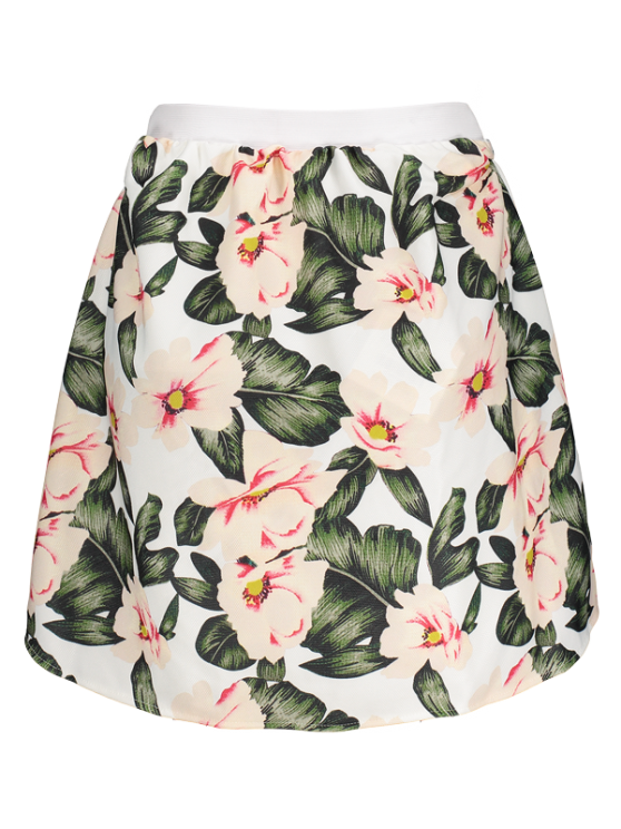 Floral A-Line Mini Skirt - GREEN S Mobile
