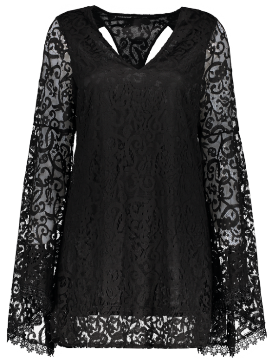 Bell Sleeve Plunge Neck Lace Dress - BLACK L Mobile