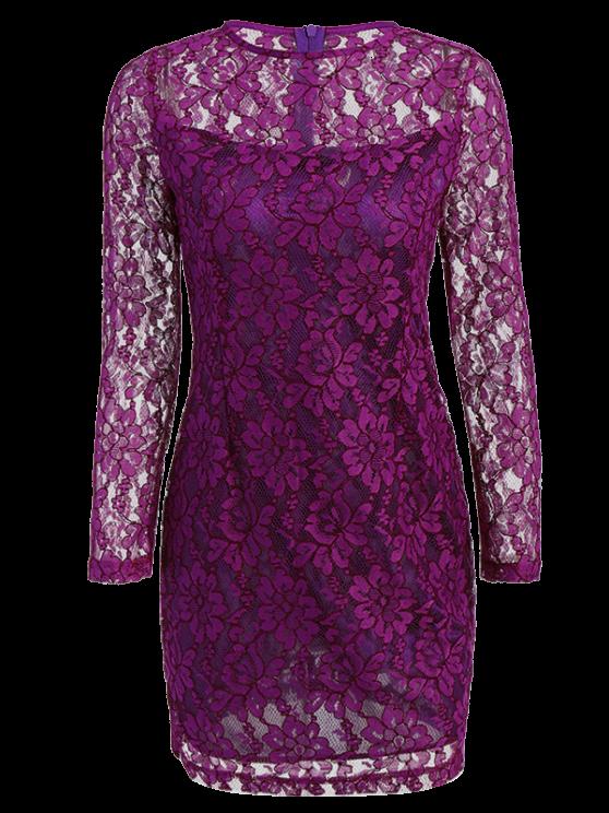 shop Long Sleeve Cut Out Lace Dress - PURPLE XL
