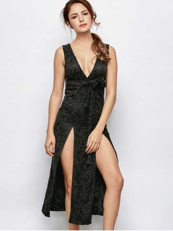 outfit Low Cut Lace Plunge Empire Waist Prom Dress - BLACK XL