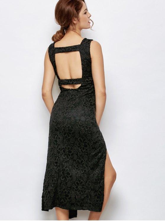 Low Cut Lace Plunge Empire Waist Prom Dress - BLACK XL Mobile