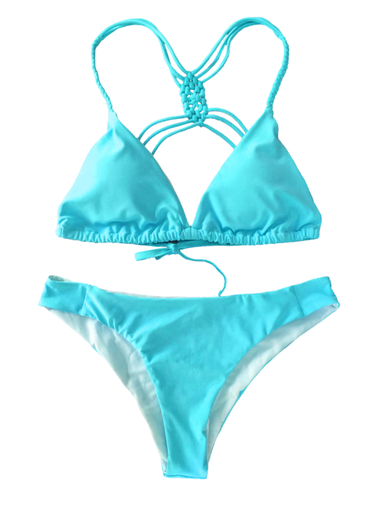 Crosscriss Strappy Bikini Set - BLUE S Mobile