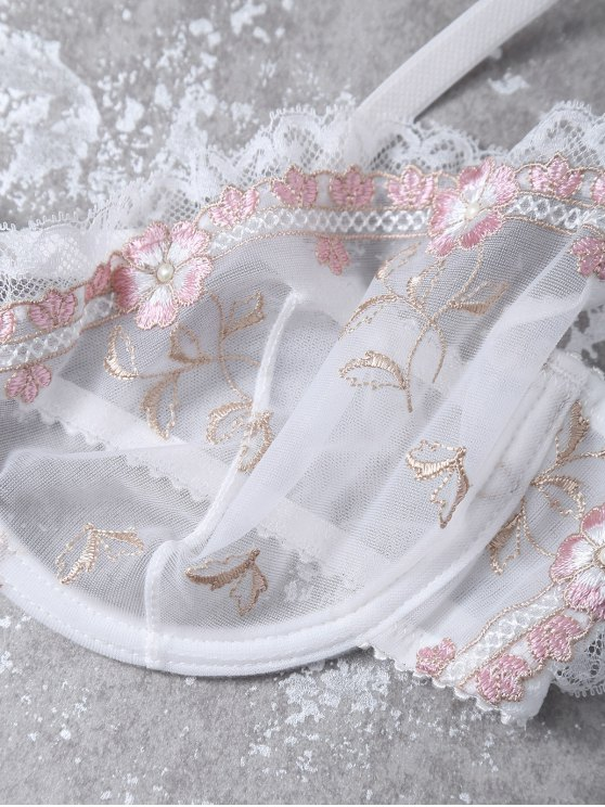 Cami See-Through Floral Embroidered Bra Set - WHITE 75B Mobile