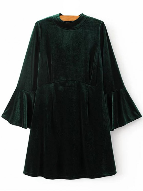 Cut Out Bell Sleeve Velvet Dress - BLACKISH GREEN S Mobile