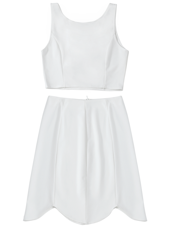 Fitted Crop Top and Scalloped Skirt - WHITE L Mobile