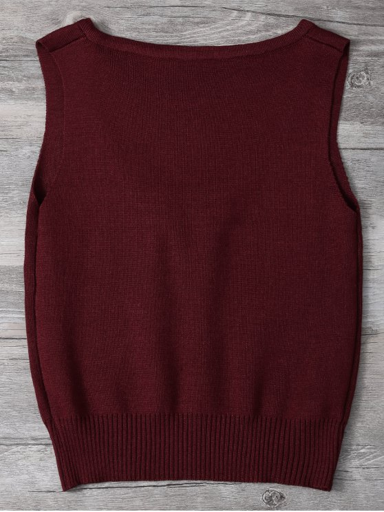 V Neck Sweater Tank Top - BURGUNDY ONE SIZE Mobile