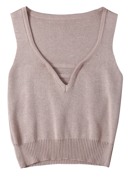 V Neck Sweater Tank Top - SHALLOW PINK ONE SIZE Mobile