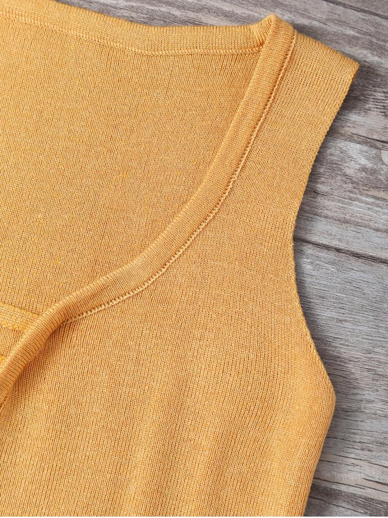 V Neck Sweater Tank Top - EARTHY ONE SIZE Mobile