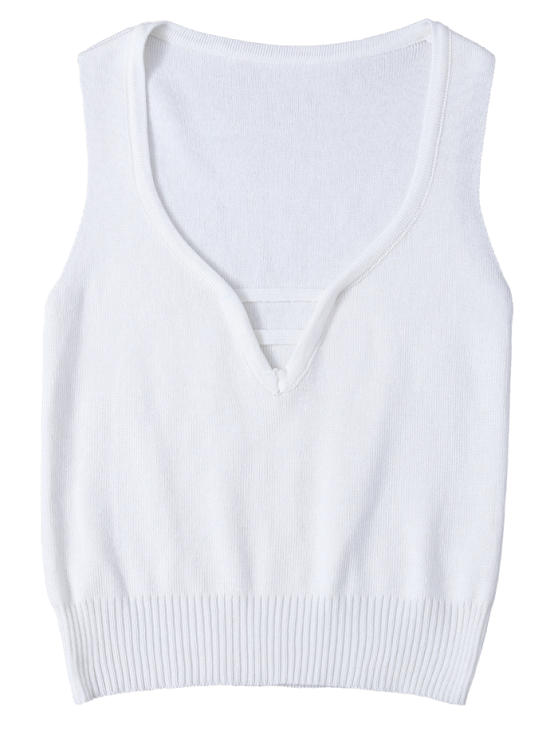 V Neck Sweater Tank Top - WHITE ONE SIZE Mobile