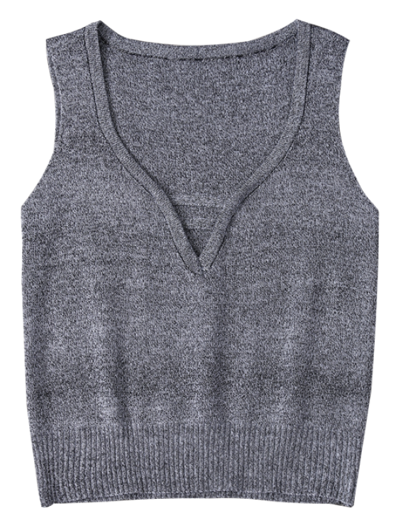 V Neck Sweater Tank Top - GRAY ONE SIZE Mobile