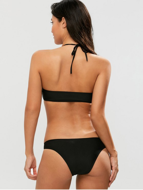 Casual Cutout Bikini Set - BLACK S Mobile