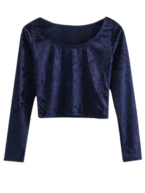 Vintage Scoop Neck Velvet Crop Top - CADETBLUE S Mobile
