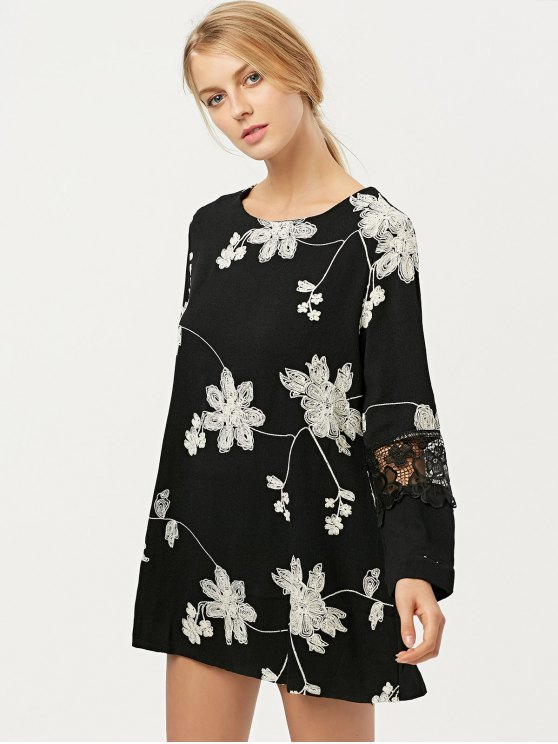 Lace Panel Floral Embroidered Dress - BLACK XL Mobile