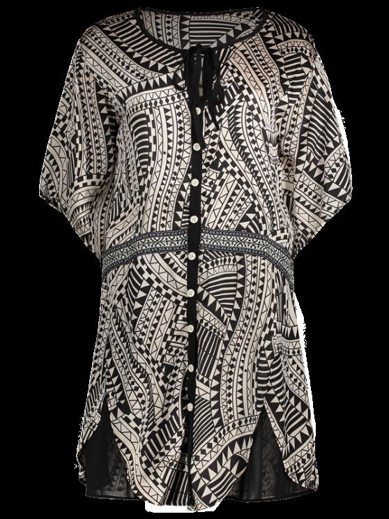 women Flare Sleeve Geo Print Buttoned Chiffon Dress - COLORMIX XS